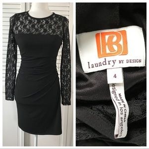 Laundry By Design Black Long Sleeve Lace Dress